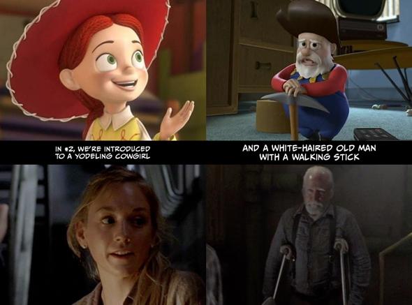 2. kısımda türkü söyleyen bir kadın kovboyla tanışırız. / Bir de beyaz sakallı, bastonlu, yaşlı bir adamla.
