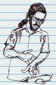 Bernard Caleo'nun kaleminden Can Yalçınkaya eskizi.