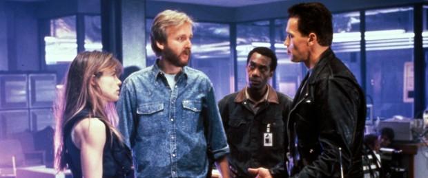 James Cameron, T2'nin setinde oyuncularla